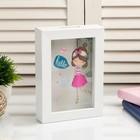 """Piggy Bank plastic interior """"Girl with flowers"""" 17х12х3,8 cm"""