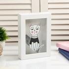 """Piggy Bank plastic interior """"White kitten in a sweater"""" 17х12х3,8 cm"""