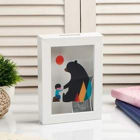 """Копилка интерьерная пластик """"Малыш и медведь"""" 17х12х3,8 см"""