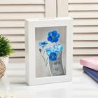 """Piggy Bank plastic interior """"Blue flowers"""" 17х12х3,8 cm"""