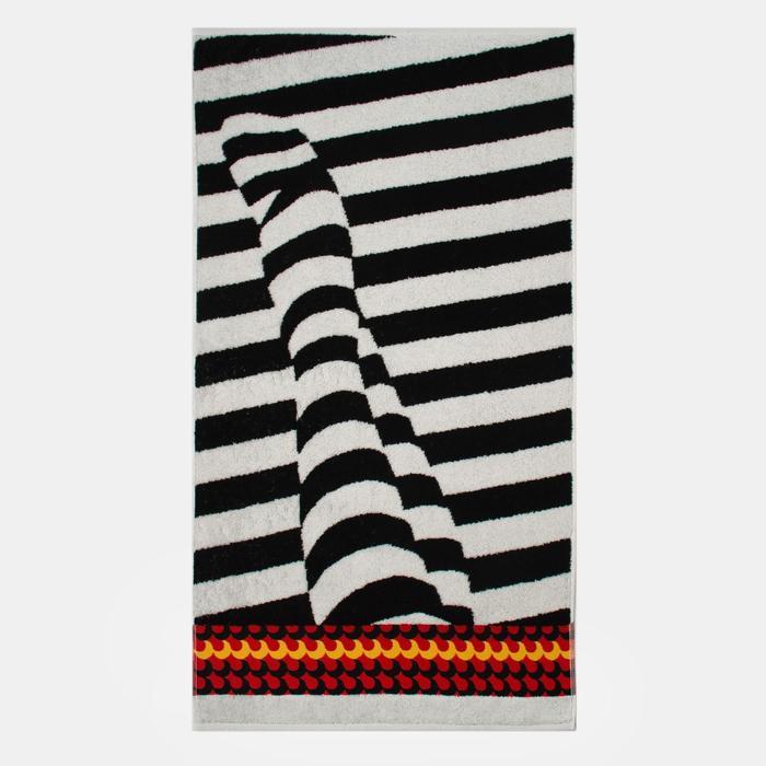 Полотенце махровое «Focus» цвет белый/чёрный, 50х90 см, 460г/м2