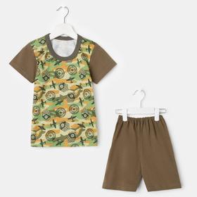 Комплект (футболка, шорты) для мальчика, цвет хаки/самолёты, рост 104 см
