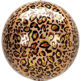 """Шар фольгированный 3D сфера 16"""" Леопард Сафари 1209-0346"""