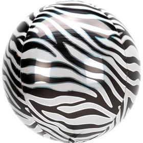 """Шар фольгированный 3D сфера 16"""" Зебра Сафари  1209-0344"""