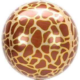 """Шар фольгированный 3D сфера 16"""" Жираф Сафари   1209-0345"""