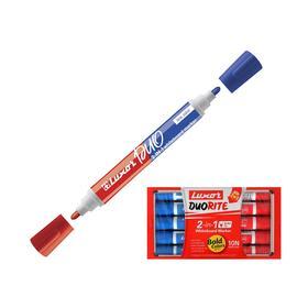 """Маркер для белых досок двухсторонний 1-3 мм Luxor """"Duorite"""" синий/красный, пулевидный"""