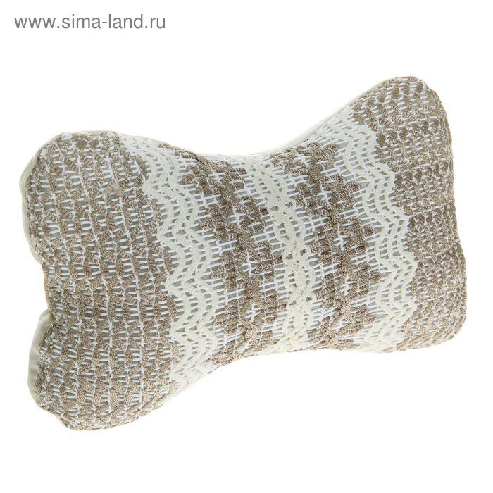 Ортопедическая подушка на подголовник кресла текстиль серая