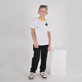 Футболка для мальчика, цвет белый, рост 122-128 см
