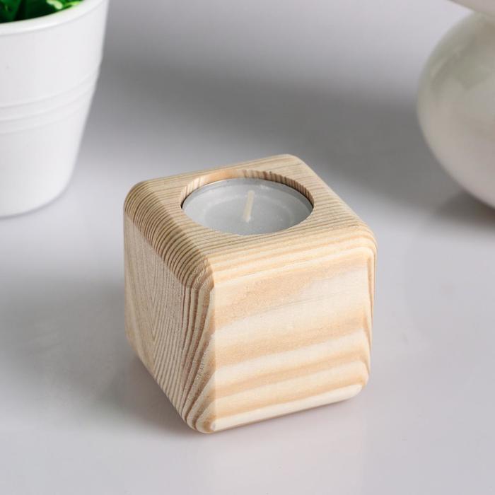"""Подсвечник деревянный под 1 свечу """"Квадратный"""", МАССИВ, 6×6×6 см"""