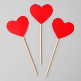 Шпажки «Сердечки», 12 шт., красные
