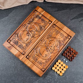"""Нарды ручной работы """"Дракон"""", 55х25х6,5 см, массив ореха"""