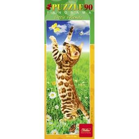 Пазл-панорама 90 элементов «Котёнок с бабочкой»