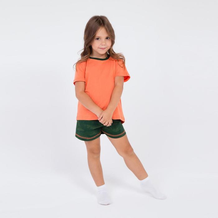 Пижама для девочки, цвет оранжевый/зелёный, рост 98-104 см - фото 76225682