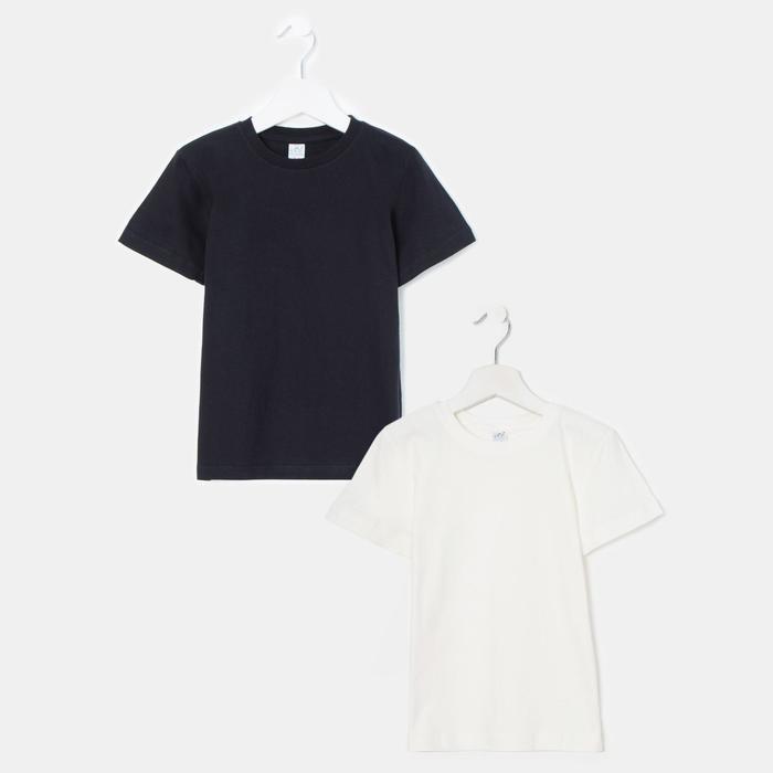Комплект футболок для мальчика (2 штуки), цвет молочный/чёрный, рост 104-110 см (30) - фото 1948299