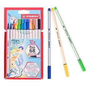 Фломастер-кисть набор Stabilo Pen 68 BRUSH 12цв карт. футляр 568/12-21