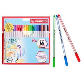 Фломастер-кисть набор Stabilo Pen 68 BRUSH 24цв карт. футляр 568/24-211
