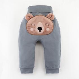"""Штанишки Крошка Я """"Мишка"""", серый, рост 74-80 см"""
