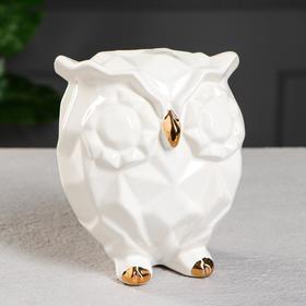 """Копилка """"Сова оригами"""", белая, глазурь, с золотистым декором, 14 см"""