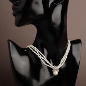 """Колье с жемчугом """"Мария"""" нити, цвет белый в серебре, L=40 см"""