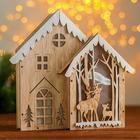 Новогодний декор с подсветкой «Двойной дом» 2АА, 6,5х24х22 см