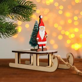 Новогодний декор с подсветкой «Дед мороз на санках» 2 круглые, 8х18х15,5 см