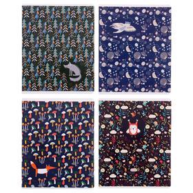 Тетрадь 96 листов в клетку «Узоры. Лесная сказка», обложка мелованный картон, блок офсет, МИКС