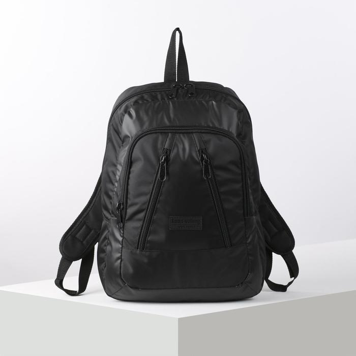 Рюкзак школьный, отдел на молнии, наружный карман, цвет чёрный - фото 746336