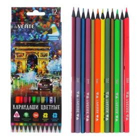 Карандаши 12 цветов для рисования на черной бумаге, deVENTE Cosmo. Trio (4 неон + 8 металлик), 3М, диаметр грифеля 3 мм, трехгранные, в картонной коробке