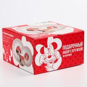 Набор посуды «Минни», 4 предмета: тарелка Ø 16,5 см, миска Ø 14 см, кружка 250 мл, коврик в подарочной упаковке, Минни Маус