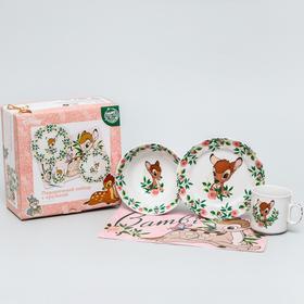 Набор посуды «Бэмби», 4 предмета: тарелка Ø 16,5 см, миска Ø 14 см, кружка 250 мл, коврик в подарочной упаковке, Disney