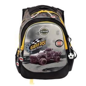 Рюкзак школьный эргоном.спинка Across CH220 39*29*17 мал, чёрный/жёлтый 20-CH220-2