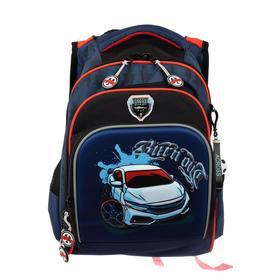 Рюкзак школьный эргоном.спинка Across CH550 39*29*17 мал, синий/чёрный/крансый 20-CH550-3