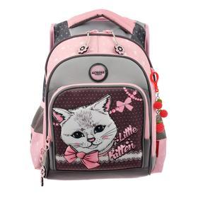 Рюкзак школьный эргоном.спинка Across DH1 39*29*17 дев, серый/розовый 20-DH1-4