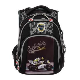 Рюкзак школьный эргоном.спинка Across DH4 39*29*17 мал, чёрный/серый 20-DH4-2
