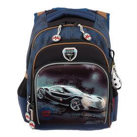 Рюкзак школьный эргоном.спинка Across CH550 39*29*17 мал, синий/чёрный 20-CH550-2