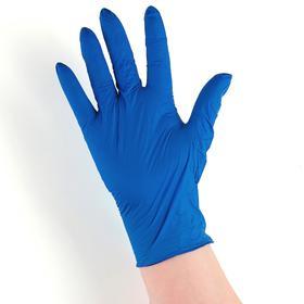 Перчатки хозяйственные нитриловые неопудренные Доляна, размер L, 2,5 гр, 100 шт/уп, цена за 1 шт, цвет синий