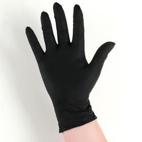 Перчатки хозяйственные нитриловые неопудренные, размер S, 3,5 гр, 100 шт/уп, цена за 1 шт, цвет чёрный