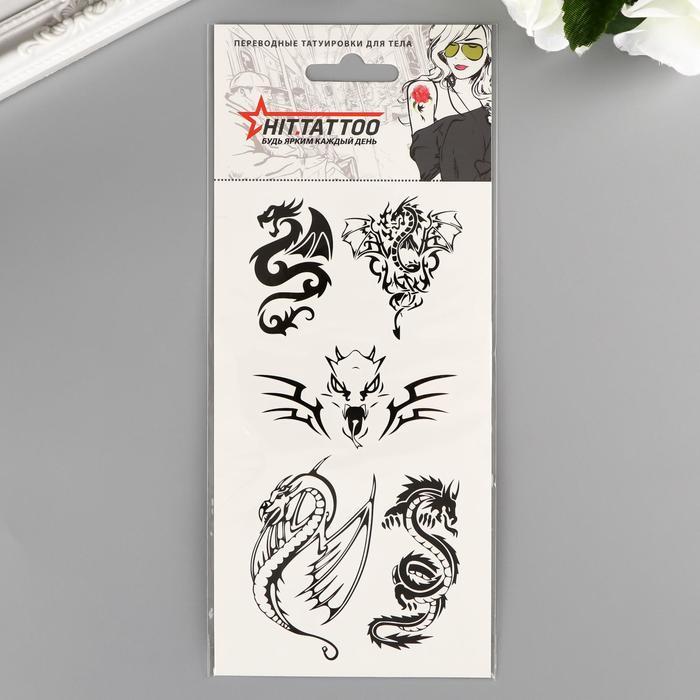 """Татуировка переводная """"Драконы"""" черная, 9х21"""