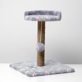 """Когтеточка малая """"Арена"""" с игрушкой, 40 х 40х 55 см, джут, серая с розовыми лапками"""