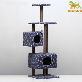 """Домик-когтеточка """"Квадратный с площадкой и полкой"""" для кошек, 65х51х173 см, серая с лапкам"""