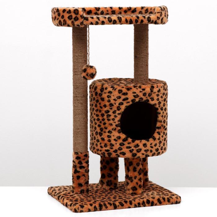 "Домик-когтеточка ""Круглый с площадкой"", 52 х 52 х 95 см, джут, леопард"