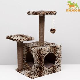 Домик-когтеточка «Квадратный трёхэтажный с двумя окошками», джут, 45×47×75 см, леопард