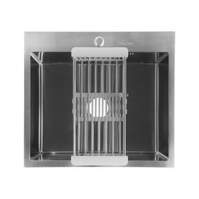 Мойка FABIA PROFI, 60х50 см, врезная, S = 3,0 и 0,8 мм, сифон с переливом + корзина