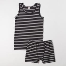 Комплект (майка, трусы) для мальчика, цвет тёмно-синий, рост 110-116 см (3-4)