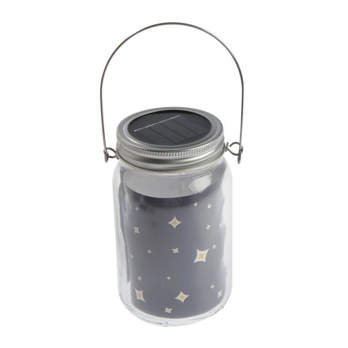 """Светильник-банка """"Прозрачная"""" светодиодный на солнечной батарее 10 LED, с подвесом, Т.БЕЛЫЙ"""