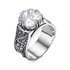 """Кольцо """"Ажур"""" с камнем, посеребрение с оксидированием, 17,5 размер"""