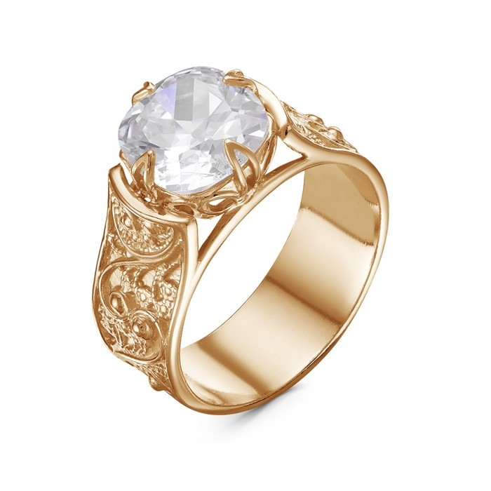 "Кольцо ""Ажур"" с камнем, позолота, 18 размер - фото 492368"