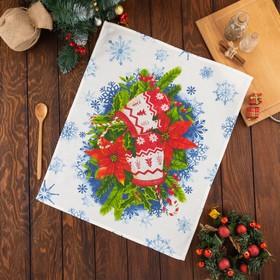 Полотенце Этель «Christmas present» 50х60±3 см, вафля, 150 г/м2