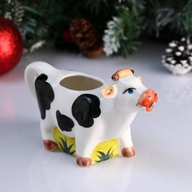 """Чайник-молочник фарфоровый """"Корова"""", пегая, объём 0,2 л"""
