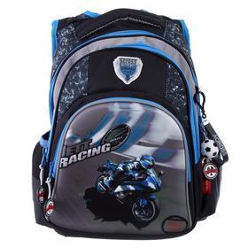 Рюкзак школьный эргоном.спинка Across CH320 39*29*17 мал, чёрный/синий 20-CH320-1